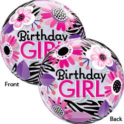 22P BDAY GIRL ZEBRA BUBBLE