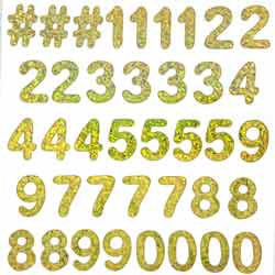 "1"" NMBRS 39/SHEET GLD HOLO (1)"