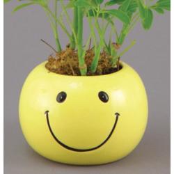 4X4 HAPPY FACE ROUND PLANTER