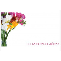 ENCL CARD-FELIZ CUMP FREESIAS
